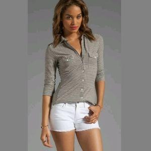 James Perse M Side Panel Jersey Shirt Gray Stripe